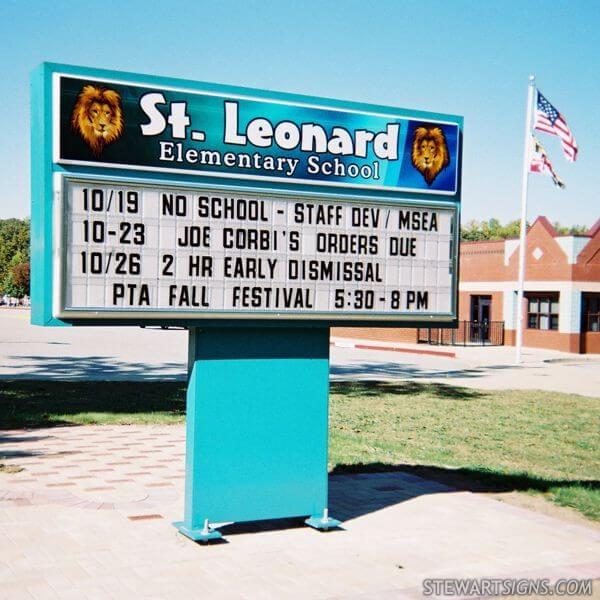 School Sign for St. Leonard Elementary