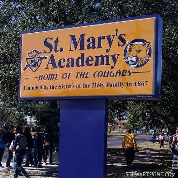 School Sign for St. Mary's Academy