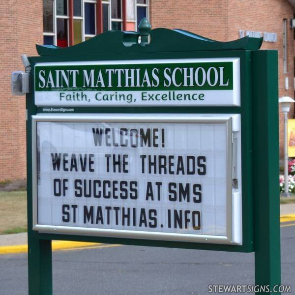 School Sign for St Matthias School