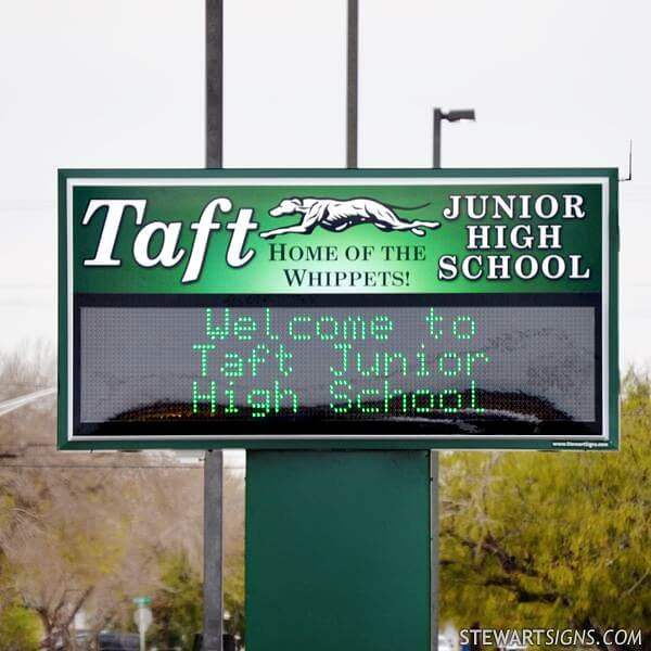 School Sign for Taft Junior High School