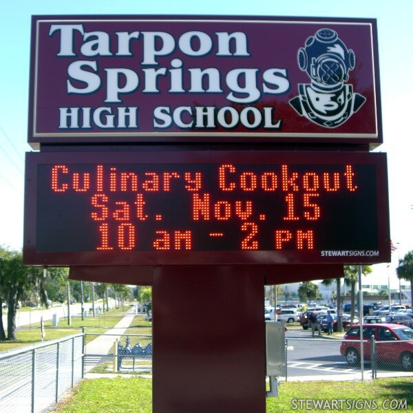 School Sign for Tarpon Springs High School