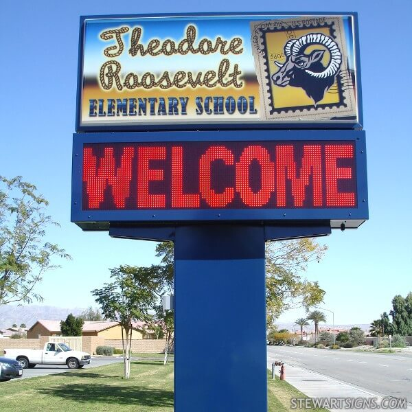School Sign for Theodore Roosevelt Elementary School