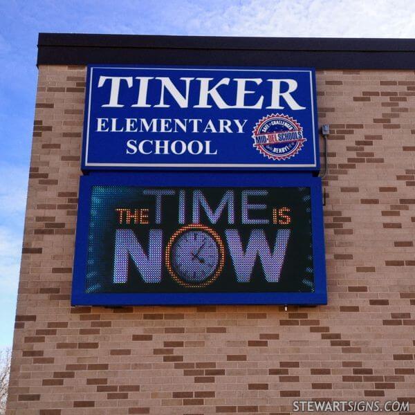 School Sign for Tinker Elementary School