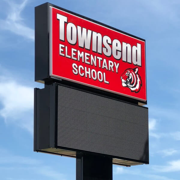 School Sign for Townsend Elementary School