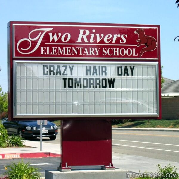 School Sign for Two Rivers Elementary