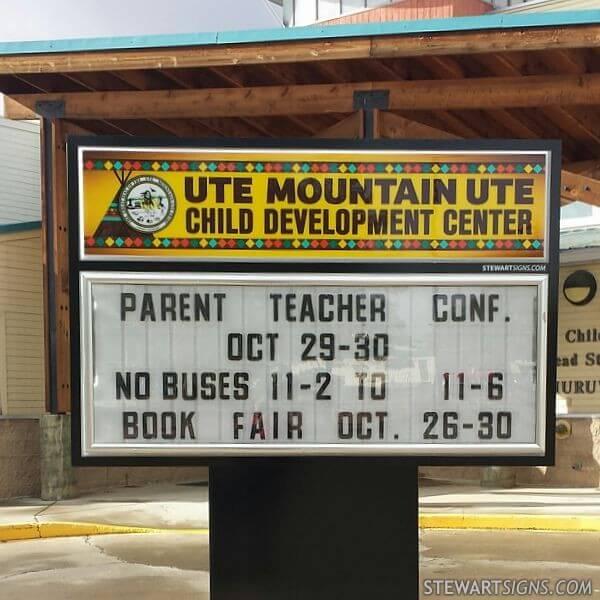 School Sign for Ute Mountain Ute Child Development Center