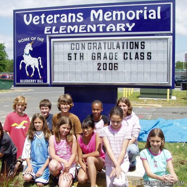 School Sign for Veterans Memorial Elementary School