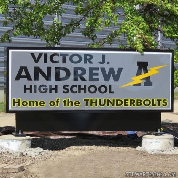 School Sign for Victor J Andrew High School