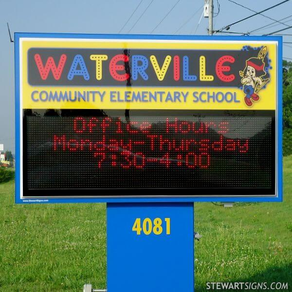 School Sign for Waterville Community Elementary School