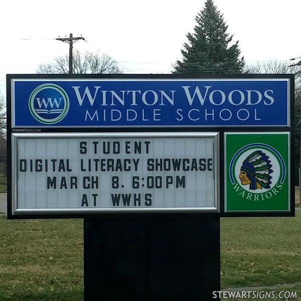 School Sign for Winton Woods Middle School