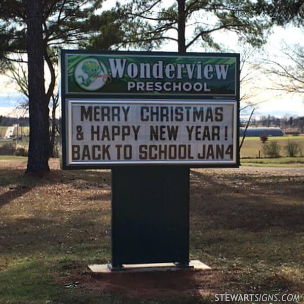 School Sign for Wonderview Preschool