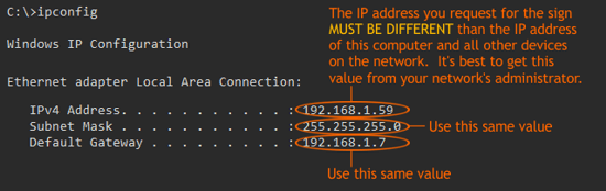 Network Information Example